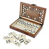 Baoblaze Domino Doppel 6 Spiel Legespiel Gesellschaftsspiel 28 Spielsteinen mit Holzkoffer für Kinder und Erwachsene