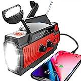 YIKANWEN Solar Radio,AM/FM Kurbelradio Tragbar USB Notfallradio mit 4000mAh Wiederaufladbare Batterie, Led Taschenlampe, SOS Alarm und Handkurbel Dynamo für Camping, Survival, Reisen, Notfall (Rot)