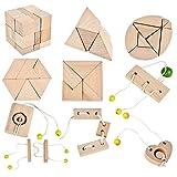B&Julian ® 3D IQ Holzpuzzle10 Mini Knobelspiele Holz Puzzle Set Geduldspiel Rätselspiel Geschicklichkeitsspiel Holzpuzzle für Kinder Erwachsene Ideen Adventskalender