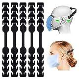 TOOVREN Ohrhaken Verlängerungshaken für mundschutz, Ohrenschutz Anti-Rutsch wiederverwendbar, 8 verstellbare Silikon Verstellschnalle, Ohrenriemen für Erwachsene und Kinder - Schwarz 5 Stück