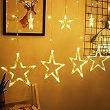 LED Lichtervorhang, Kaliwa Batteriebetriebe Lichterkette 138 LEDs Weihnachtsbeleuchtung mit 12 Sterne und LED Kugels, 8 Modi, IP44 Wasserdicht, ideal für Innenräume/Weihnachten/Partydeko (Warmweiß)