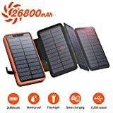 Solar PowerBank 26800mAh, Solar Ladegerät mit 4 Sonnenkollektoren, Taschenlampe, Zwei 5V / 2.1A USB-Ports Externer Akku Kompatibel mit Smartphones, Tablets Outdoor Camping Ladegerätfür