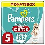 Pampers Baby-Dry Pants, Gr. 5, 12-17kg, Monatsbox (1 x 132 Höschenwindeln), Einfaches An- und Ausziehen, zuverlässige Pampers Trockenheit