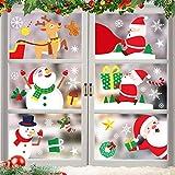 O-Kinee Weihnachten Fensterdeko,Fensterbilder Weihnachten Selbstklebend, Fensteraufkleber Weihnachten,Winter-Deko Schneeflocken Fensterbild, Statisch Haftende Weihnachtsmann Süße Elche Fensterbilder