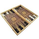 PrimoLiving Großes XXL Backgammon Spiel 50 x 47 cm klappbar mit Holzspielbrett