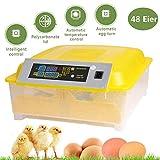 Oppikle 48/56 Eier Intelligentes digitales Brutmaschine Brutkasten mit LED Temperaturanzeige und Feuchtigkeitsregulierung,Inkubator Vollautomatische Brutmaschine (48 Eier Gelb)