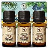 Ätherische Öle Set 3x10ml - Zirbelkieferöl - Kiefernadel Öl - Fichtennadel Öl - Reine Duftöle Geschenk Set für Luftbefeuchter - für Schönheit - Aromatherapie - Duftlampe - Diffuser