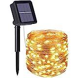flintronic Solar Lichterketten, 10M 100 LED Solar Lichterkette Aussen IP64 Wasserdicht, 8 Modi Lichterkette Außen für Garten, Bäume, Terrasse, Weihnachten, Hochzeiten, Partys - Warmweiß