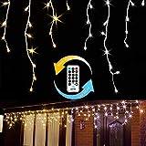 Gresonic 200er LED 5m Eisregen Lichterkette Lichtervorhang Eiszapfen Außen Innen Deko Strombetrieben mit Stecker[Energieklasse A+] (Warm-/Kaltweiß, 9 Modi Dimmbar)