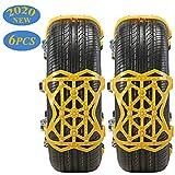 Aenamer Schneeketten, 6 Stück Universal Anti-Rutsch Ketten für Auto mit Reifenbreite 165mm-285mm, Winter Gelb Fahrsicherheitsketten mit Handschuhen