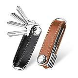 flintronic Key Organizer | Schlüsselanhänger Echtes Leder | Pocket Smart Key Holder mit Stilvoller,Funktionaler und Praktischer Geschenkbox (für 7-9 Mehrfachschlüssel)- Brown + Schwarz