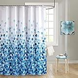 JRing Duschvorhäng Wasserdichter Anti-Schimmel Duschvorhang aus Polyester Stoff Waschbar Badewanne Vorhang mit 12 Duschvorhangringen 180x180cm Blau