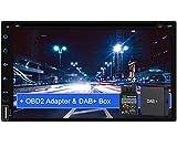 Tristan Auron BT2D7018A-DVD Android 9.0 Autoradio mit Navi + DAB+ Box OBD2 Adapter I 7'' Touchscreen Bildschirm I Bluetooth Freisprecheinrichtung I Quad Core GPS CD DVD USB SD - 2 DIN