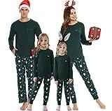 Vlazom Weihnachten Schlafanzug Langarm Zweiteiliger Set Familien Weihnachten Pyjama Set Christmas Sleepwear Nachtwäsche für Familien Pyjama Set für Vater Mutter und Kinder S-XXL