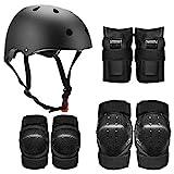 Lixada 7-in-1-Schutzausrüstung mit Knie-Ellbogenschützern Handgelenkschutz-Helm, Kinder, Jugendliche, Erwachsene, Multi-Sport-Sicherheitsschutz-Set für Radfahren, Rollschuhlaufen