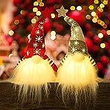 Huacat 2er Weihnachten Deko Wichtel mit LED 41 cm Hoch Schwedischen Weihnachtsmann Santa Tomte Gnom, Skandinavischer Zwerg Geschenke für Kinder Familie Weihnachten Freunde