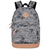SAMGOO Unisex Rucksack Leinwand Rucksäcke Daypack mit Laptopfach Freizeitrucksack Schulrucksack (Grau Kokosnussbäume)