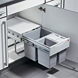 Hailo Raumspar Tandem Küchen-Abfalleimer, Plastik, Grau, One Size