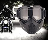 YIQI Motorcycle Maske Abnehmbaren,Motorrad Schutzbrille Staubschutz Brille mit abnehmbaren Gesichtsmaske Winddicht für Outdoor Fahrrad Dirtbike Motocross Off-Road Goggle