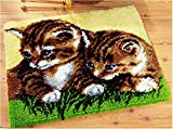 4 Modell Katze Knüpfteppich für Kinder und Erwachsene zum Selber Knüpfen Teppich Latch Hook Kit child Rug Cat571 53 by 38 cm