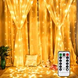 Vegena LED USB Lichtervorhang 3m x 3m, 300 LEDs Lichterkettenvorhang mit 8 Modi Lichterkette Gardine für Partydekoration Schlafzimmer Innenbeleuchtung Weihnachten Deko Warmweiß [Energieklasse A+++]
