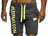 Leif Nelson Gym Herren Fitness Hose Short Trainingshose Trainingsshort 06296; Größe S, Anthrazit-Gelb