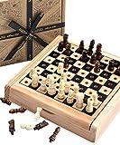 Reiseschachspiel von Jaques - Komplett Handgeschnitztes Echtes Schachspiel von Jaques - Qualitätsschach seit 1795