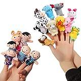 ThinkMax 16 Pcs Fingerpuppen - 10 Tiere + 6 Personen Familie Fingerpuppen Set für Baby und Kinder