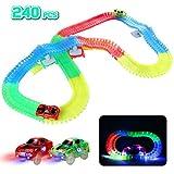 Rennbahn Kinder Autorennbahn Magische Leuchtend 240 Stück Glow Track Twister mit 2 Leucht Elektro Autos Spielzeug 3 4 5 6 Jahren Junge