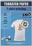 PPD A4 x 5 Blatt Inkjet PREMIUM T-Shirt Transferpapier Transferfolie Bügelfolie für Tintenstrahldrucker und helle Textilien PPD-1-5