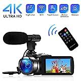4K Camcorder Videokamera WiFi Vlogging Kamera Camcorder mit Mikrofon Full HD 1080P 30FPS 3'HD Touchscreen Digitale Kamera für YouTube mit IR-Nachtsicht und Fernbedienung
