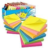 12 Blöcke Haftnotizen 76 x 76 mm Super Sticky Notes selbstklebende Haftnotizzettel, 12 Notizblöcke quadratisch à 100 Blatt