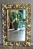 Naturesco Eleganter Wandspiegel Barockspiegel massiv Holz Gold antik 120cm x 80cm Hoch- und Querformat