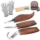Holz-Schnitzwerkzeug Set, Holz-Schnitzmesser mit Schleifsteine, Professional Holzschnitzerei Messer Werkzeuge ideales Schnitzmesser-Set für Anfänger und Profis