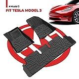BougeRV Für Tesla Model 3 Fußmatten 3D Fussmatten Auto Gummimatte Allwettermatte AutoteppichTPE Wasserdicht Automatte Für Model 3 2017-2020