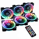 Miwatt RGB Series Gehäuse lüfter, drahtloser RGB LED 120mm Lüfter, Quiet Edition High Airflow Einstellbare Farbe LED Gehäuselüfter für PC-Gehäuse-6er Pack