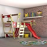 WICKEY Hochbett mit Rutsche CrAzY Smoky Kinderbett 90 x 200 Spielbett Kinder mit Lattenboden und viel Zubehör, Feuerwehrbett, rote Plane + rote Rutsche