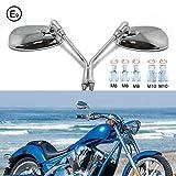 Chrom Motorrad Lenker Spiegel, M8 M10 Rückspiegel moto mit Packung Schraube für Scooter Street Bike Cruiser Chopper Sport Bike ATV