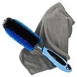 Car4Good ® Premium Felgenbürste mit Mikrofasertuch zur effektiven Felgenreinigung von Alufelgen I Bürste für Reinigung Auto Felge Felgenreinigungsbürste