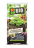 COMPO BIO Hochbeet- und Gewächshauserde für alle Gemüse- und Kräuterpflanzen im Hochbeet, Torffrei, Kultursubstrat, 20 Liter, Braun