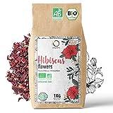 🌺 HIBISKUSTEE BIO 1kg Premiumqualität   Bio Hibiskusblüten getrocknet für Tee, Früchtetee, Eistee, Karkade tee   Hibiskus Tee für Drainage Detox-Kur