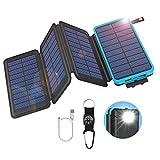 GOODaaa Solar Powerbank 25000mAh mit 4 Faltbar Solarpanels, Outdoor Solarladegerät USB 5V 2.1A Notfall-Energie Externer Akku mit LED-Licht Kompass Kompatibel für iPhone,Samsung,iPad,Handys (Blau)