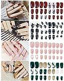 Falsche Nägel Set,Künstliche Nail Tips,96 Stück Künstliche Fingernägel Natürliche Falsche Kunst Volles Sarg Nägel Tips für Frauen Mädchen (24 x 4 Set -12 Abmessungen)