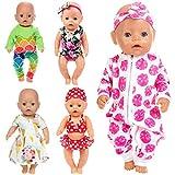 ZITA ELEMENT 5 Set Puppenkleidung Bekleidung Zubehör für 35-46cm Babypuppe Puppen Kleider Onesies für 43 cm 18 Zoll American Doll Kleidung - Xmas Gift