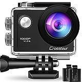 Crosstour Action Cam WiFi Sports Kamera 4K 12MP Ultra HD 2' LCD Unterwasserkamera 30M 170 °Ultra-Weitwinkel mit und Zubehör-Kits für Radfahren
