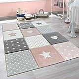 Paco Home Kinderteppich Kinderzimmer Punkte Herzen Sterne Pastell versch. Farben u. Größen, Grösse:120x170 cm, Farbe:Pink