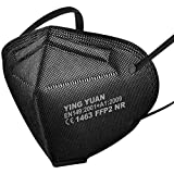 20x FFP2 Schutz Maske Mundschutz Atemschutzmaske Zertifiziert CE1463 EN149:2001+A1:2009 - Atmungsaktives Falten mit Nasenklemme Schwarz Black