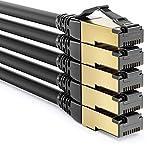 deleyCON 5X 0,25m CAT8.1 Patchkabel Netzwerkkabel Datenkabel S/FTP PIMF 2000MHz 40Gbit RJ45 LAN DSL Kabel Halogenfrei CAT.8 Ethernet Kabel RJ45 Stecker - Schwarz