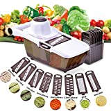 Mandoline Gemüsehobel, careslong 8 in 1 Mehrzweck Gemüseschneider Küchenhobel Zwiebelschneider Kartoffelschneider Gemüsereibe Reibe Edelstahl Klingen für Gemüseschäler