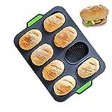 LEAMALLS Brotbackform Silikon Backblech Antihaftbeschichtung für Muffinbackformen Kuchen Brote Backformen Breadstick French Bread (Grau)